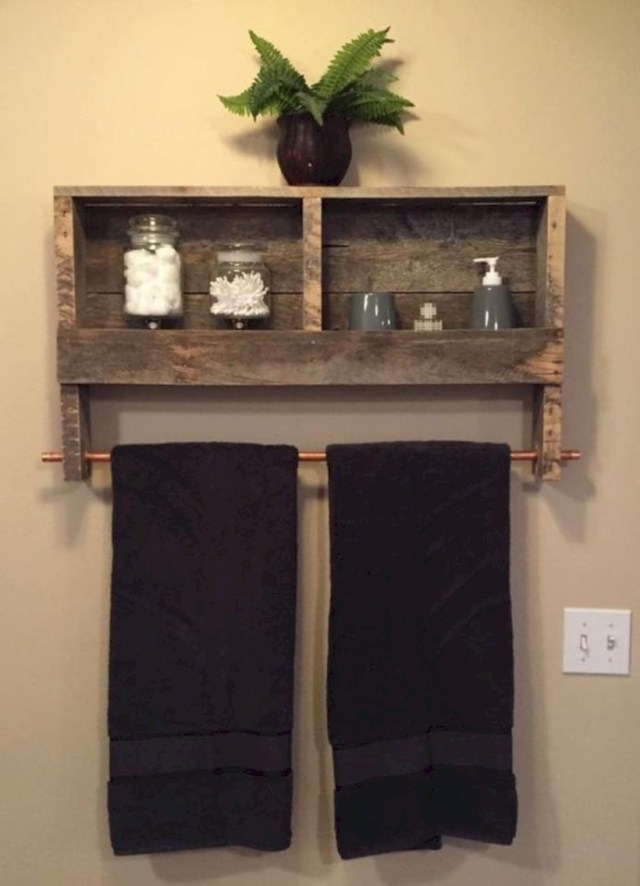 Reclaimed wood copper rod double towel rack