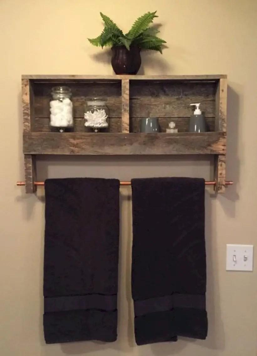 Reclaimed wood copper rod double towel rack