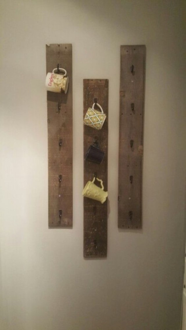 Rustic diy mug rack