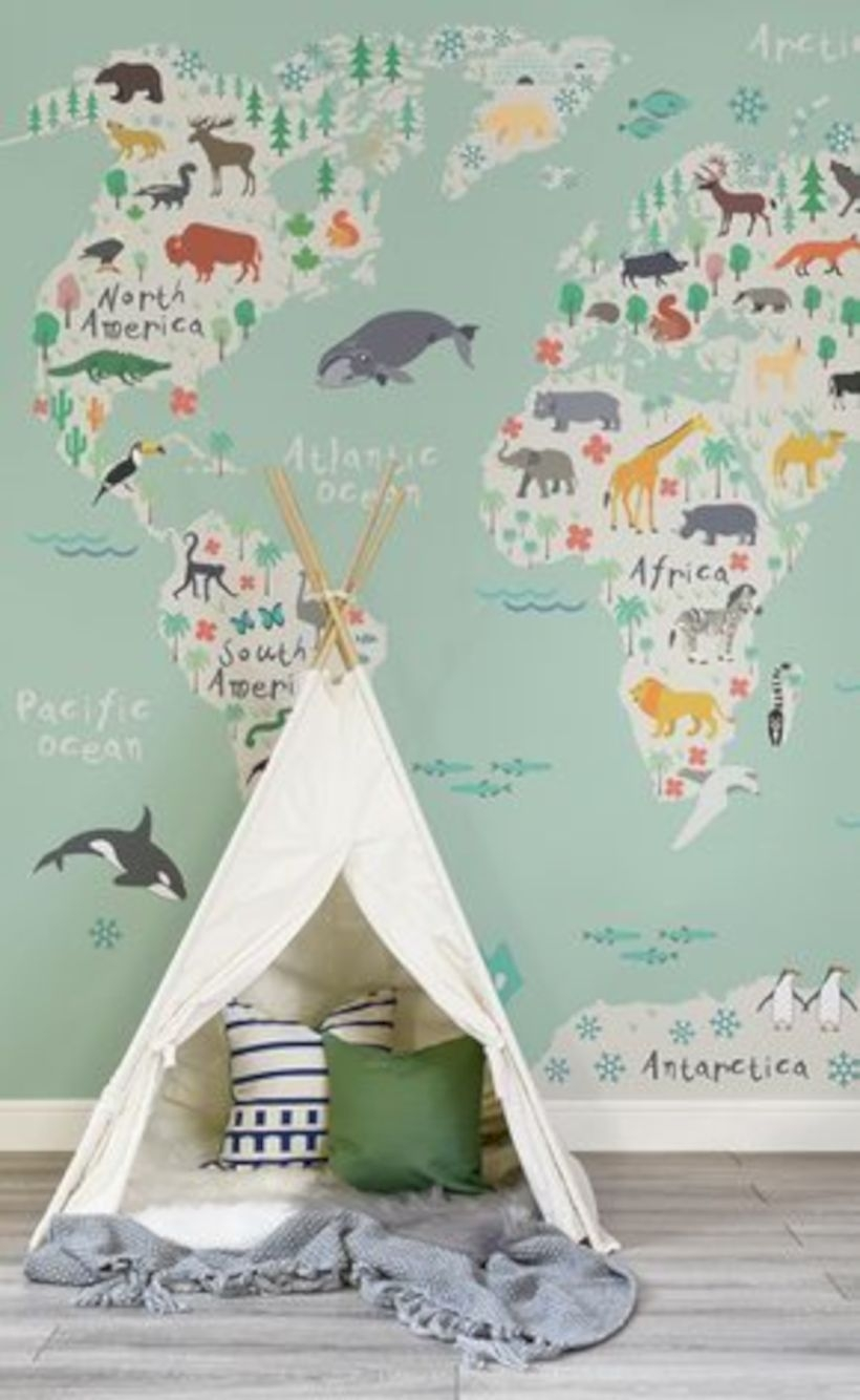Safari kids map mural wallpaper