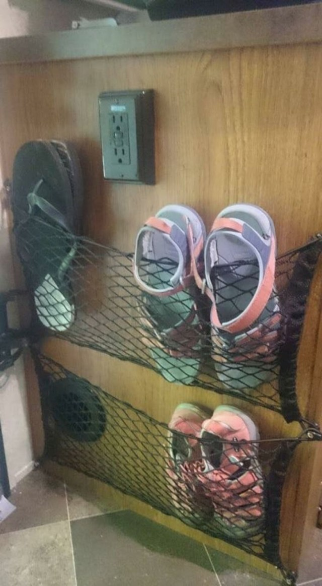 Shoe storage in rv