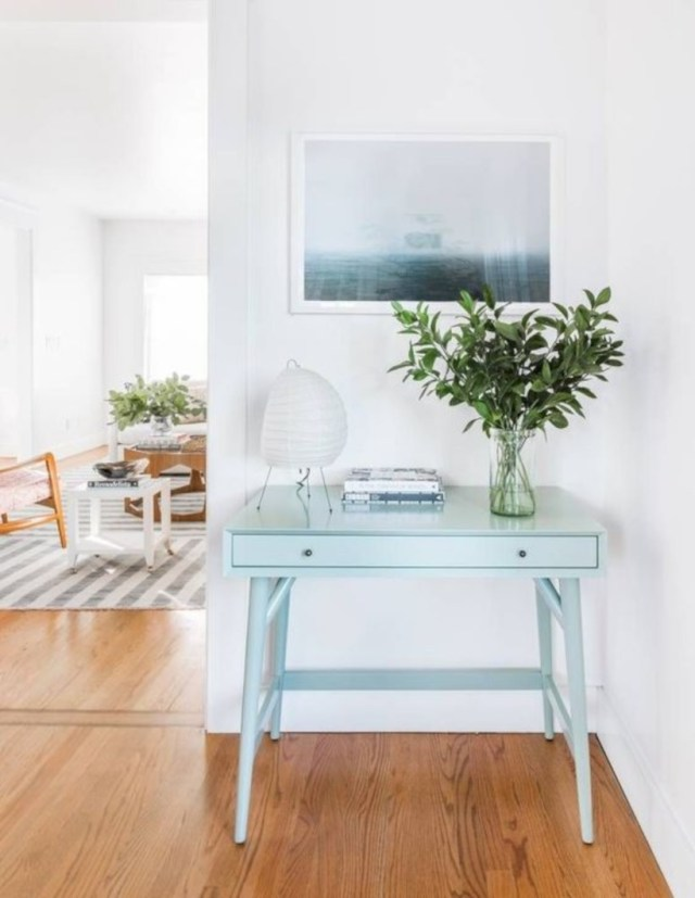 Soft hued entryway table