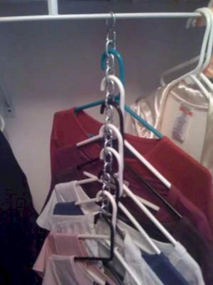 Space saving closet hangers