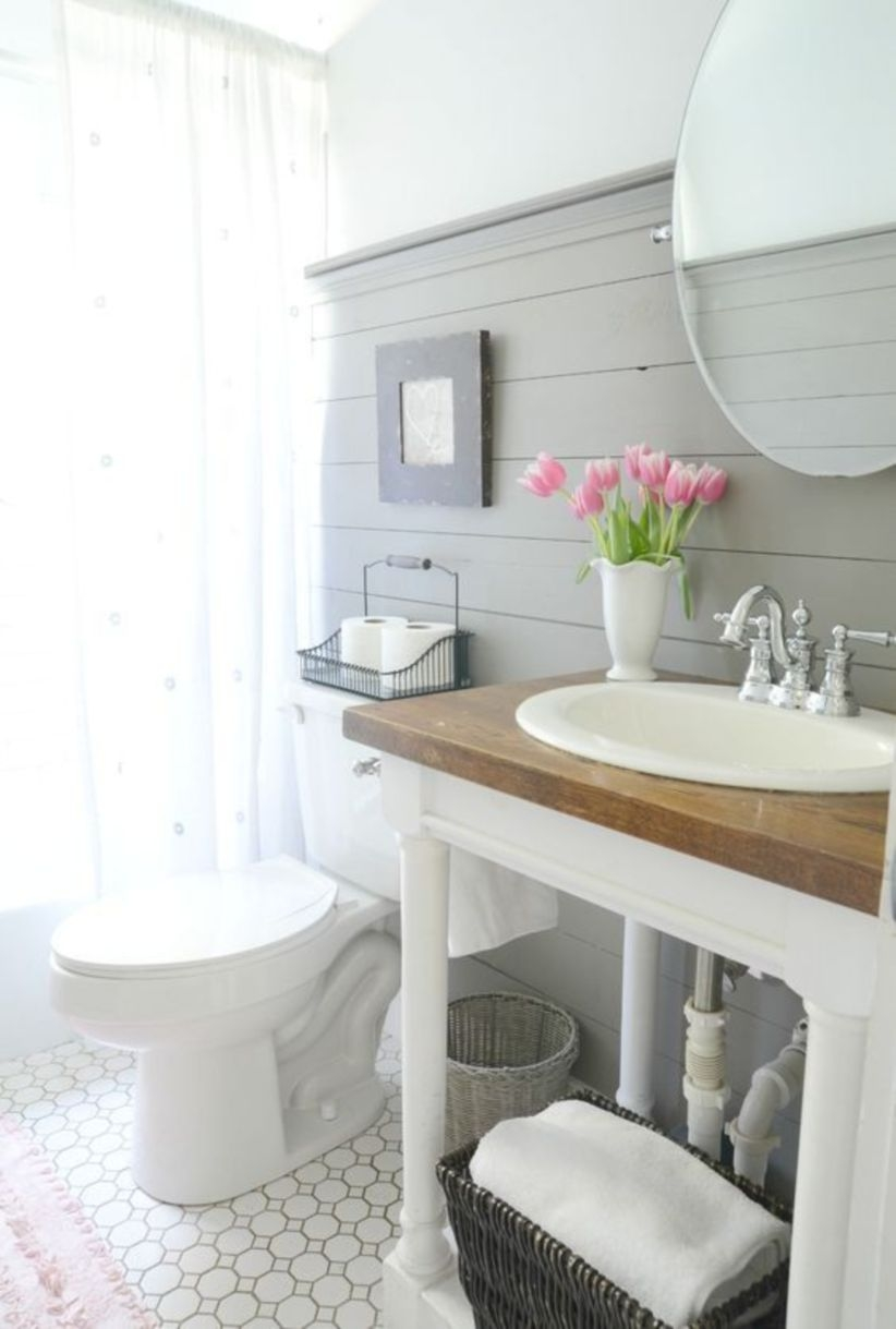 Style a modern farmhouse bathroom