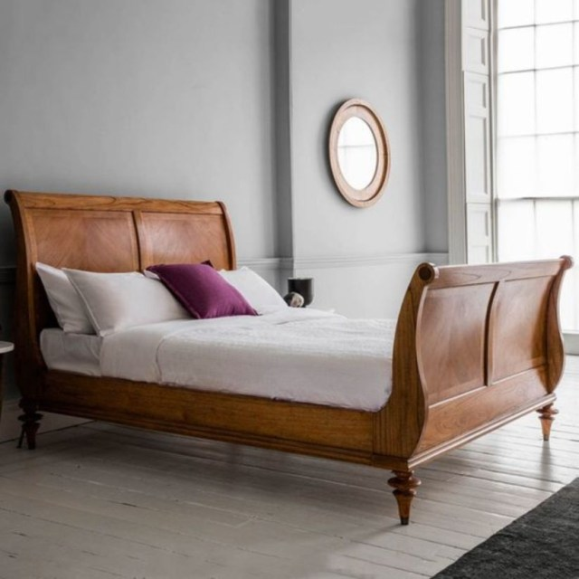 Super king wooden high end sleigh bed frame