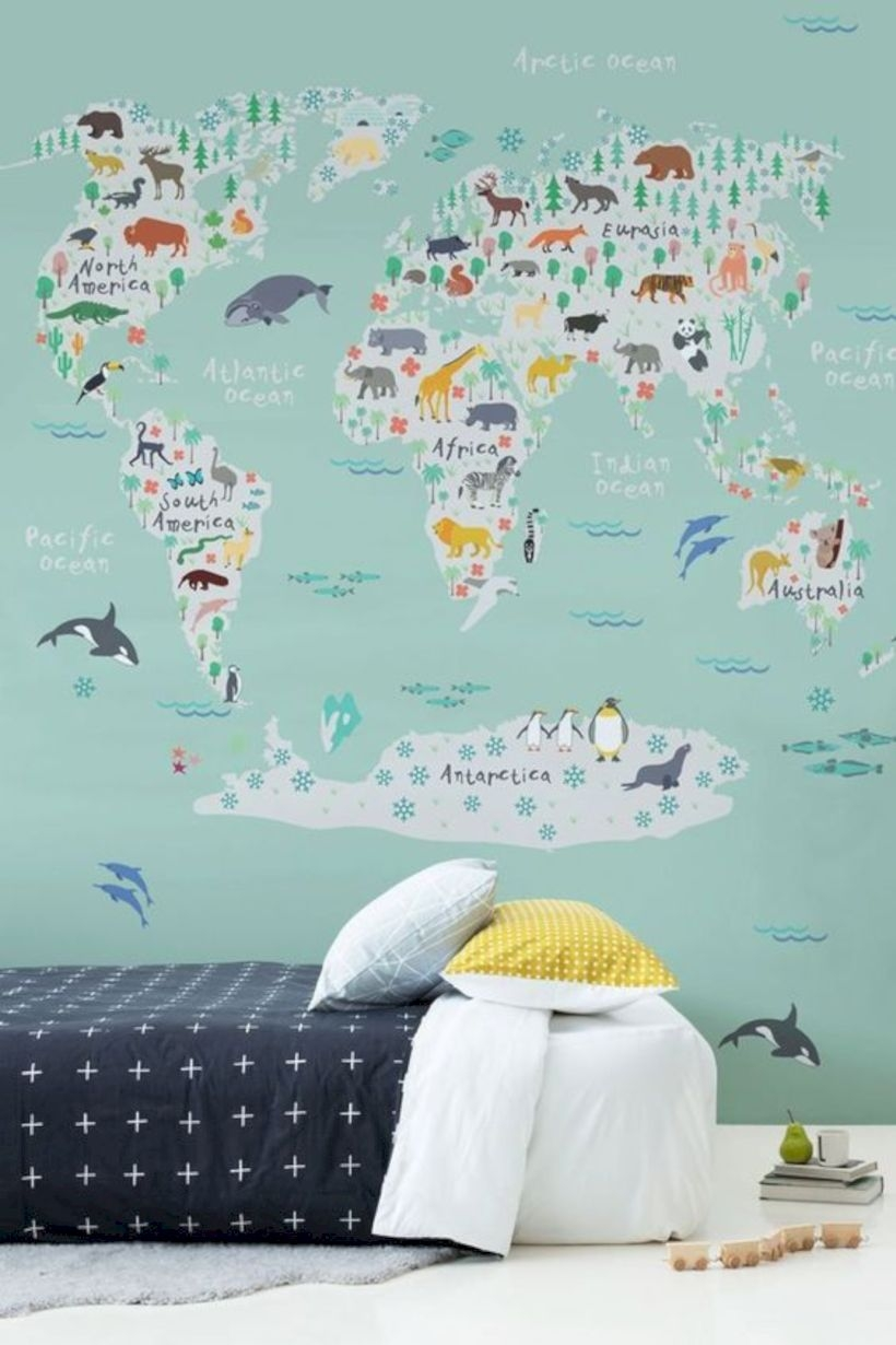 World map mural in a kids bedroom