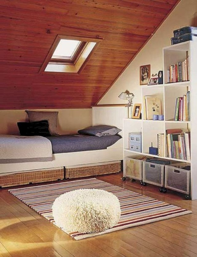 Attic bedroom inspiration with rack book