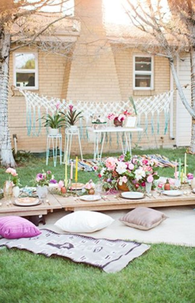 Boho birthday party in front yard that inspire