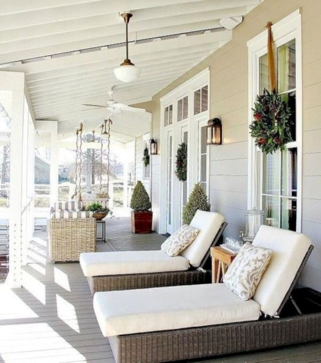 Porch with bed white