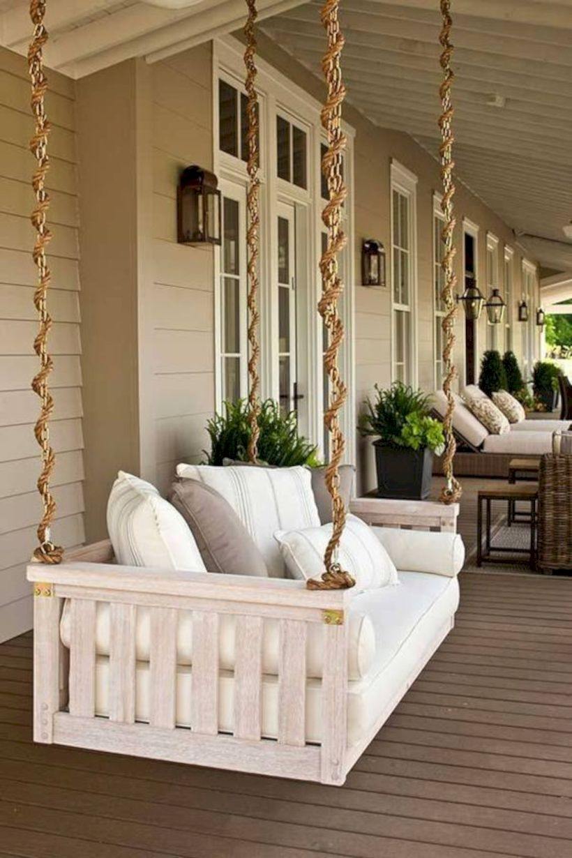 Swing bed hanging in patio
