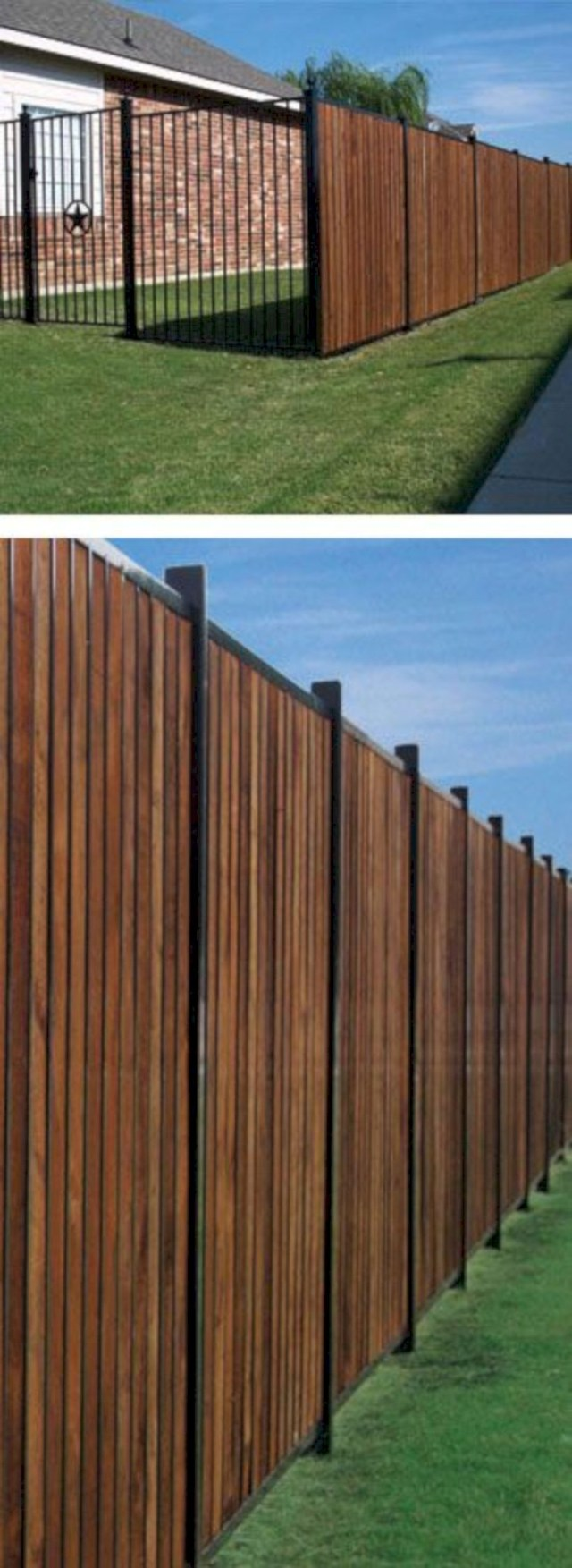 Wood fence design with iron
