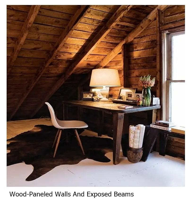 Wood-paneled walls and exposed beams