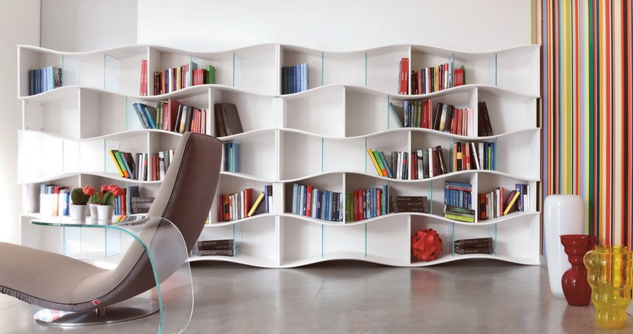 1. modern wavy shelves
