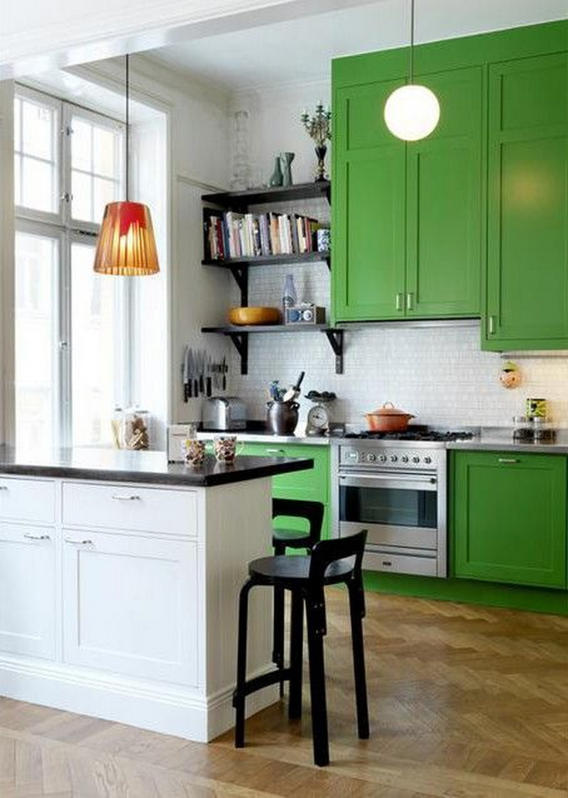6. green cabinetry