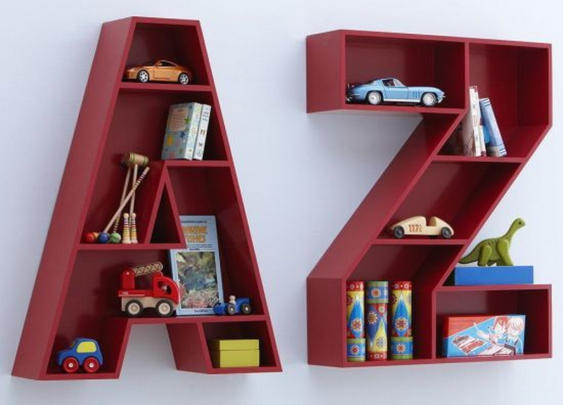 9. alphabet wood shelves