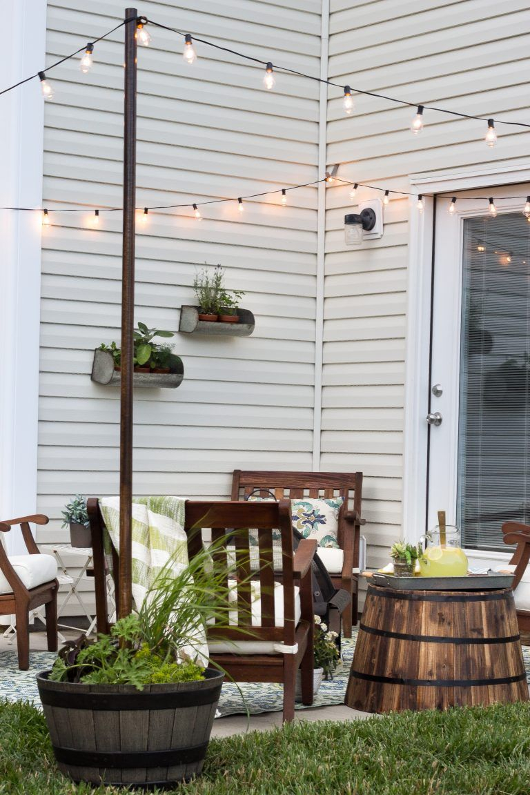 Hang string light without pergola