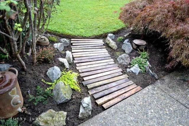 Wooden garden walkway