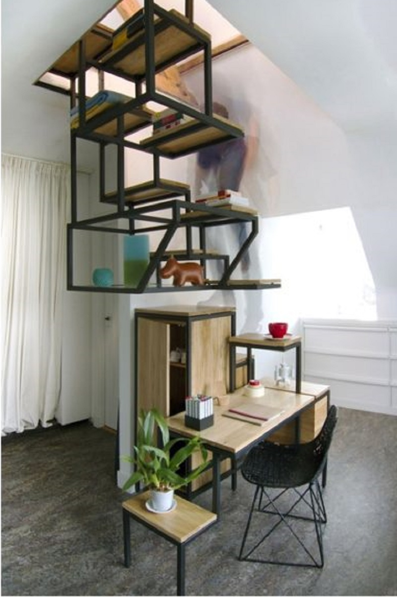 Staircase-combined-with-desk-and-storage-space-