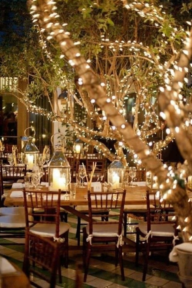 Outdoor shabby chic wedding string lights
