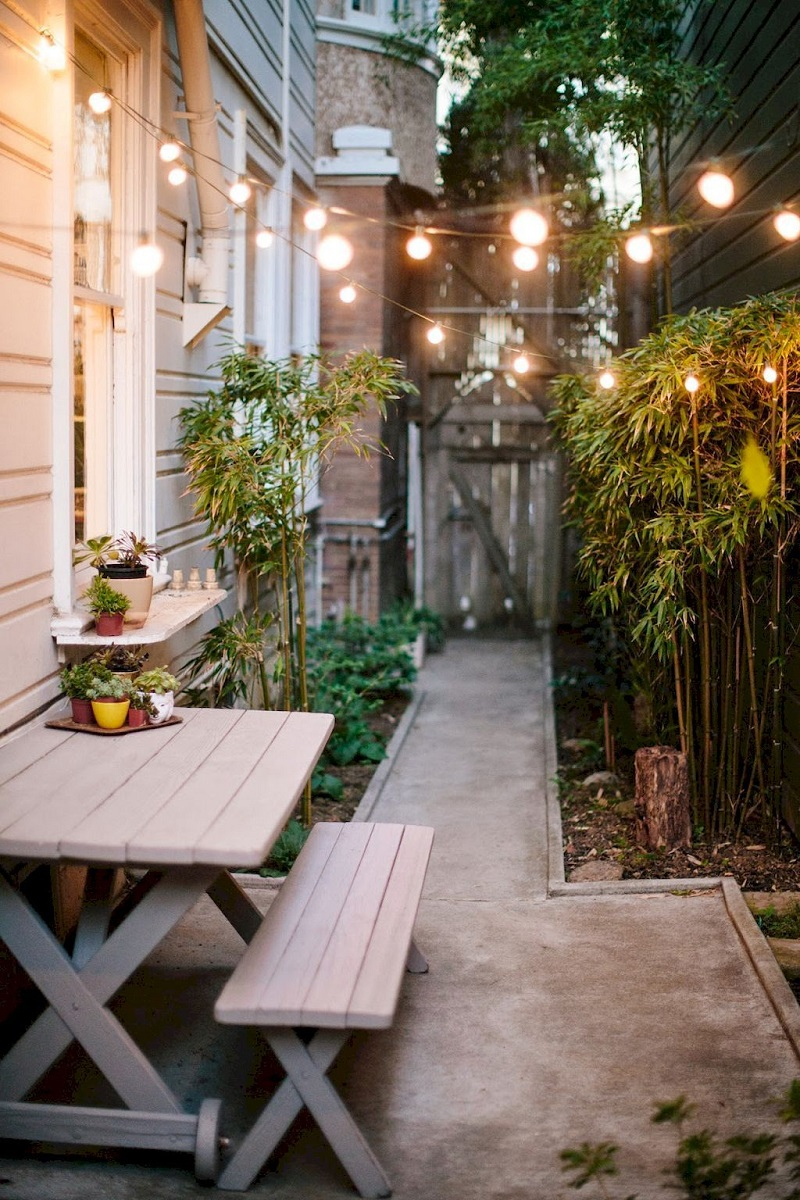 Overhead lighting side yard