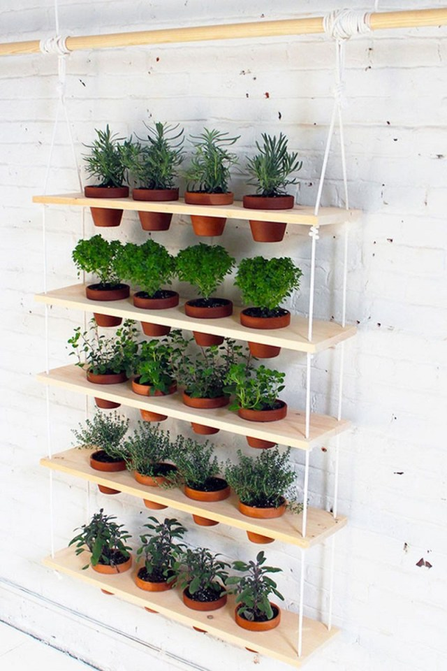 Wooden plants hanging planter