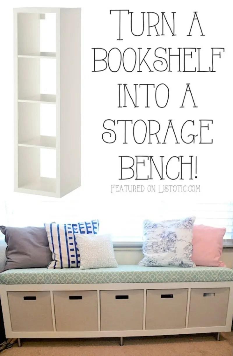 Bookshelf storage bench