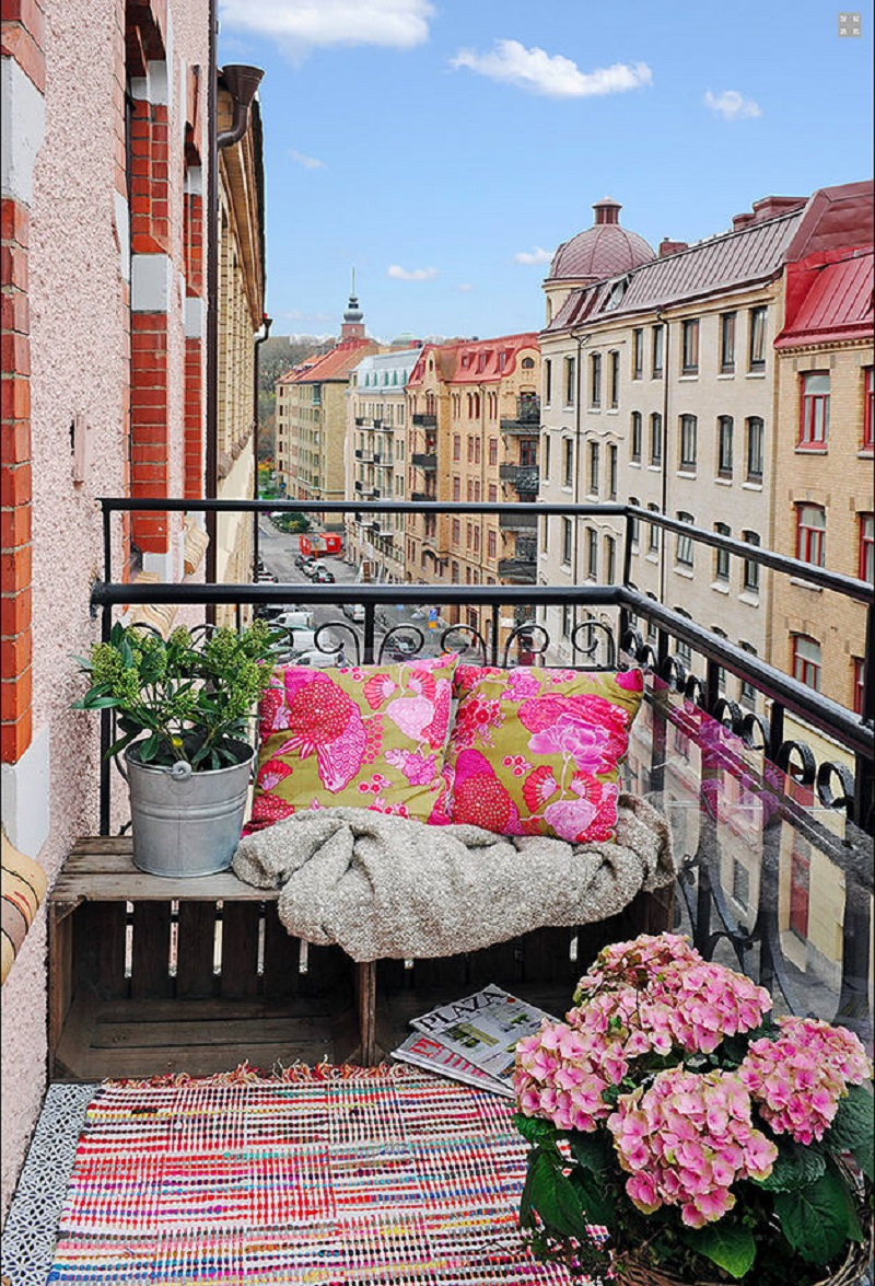 Cozy seating balcony