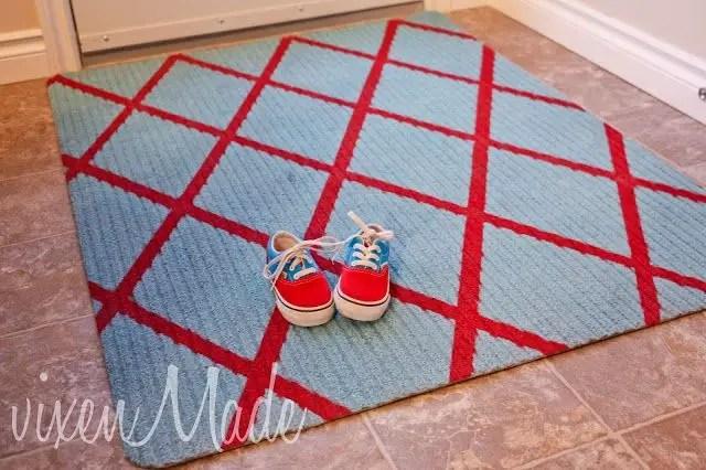 Diy diagonal striped rug