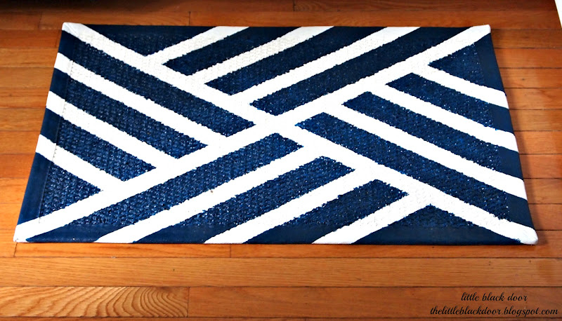Diy navy and white kitchen rug