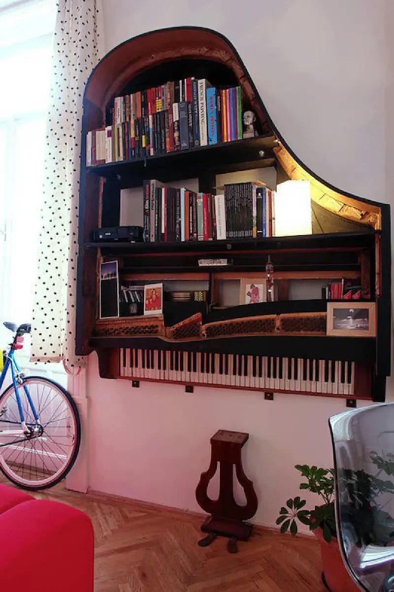 Grand piano bookshelf