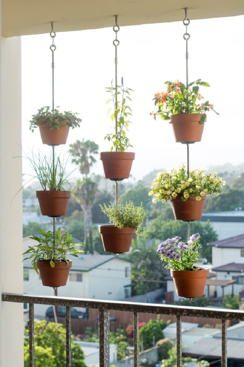Hang up pots of herbs