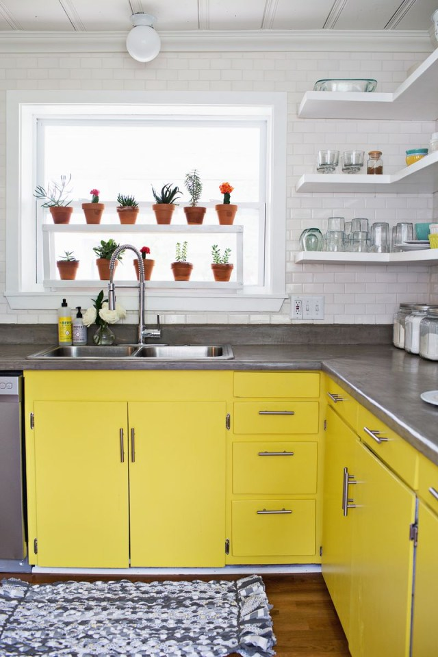 Sunshine-yellow-kitchen-cabinets