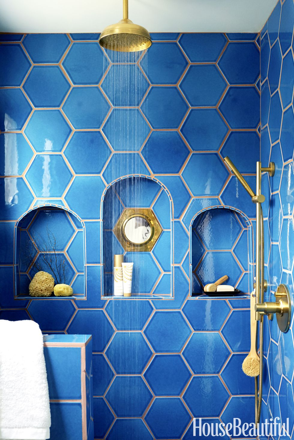Cobalt blue bathroom