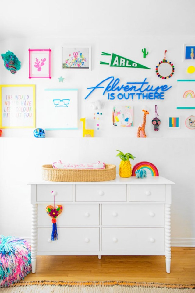Rainbow-inspired gallery walls