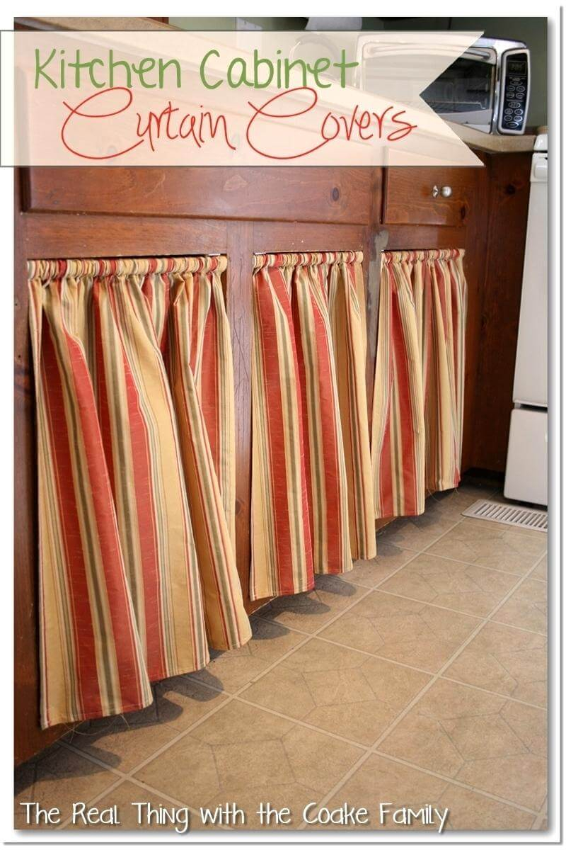 Recessed cabinet curtains in warm neutral stripes