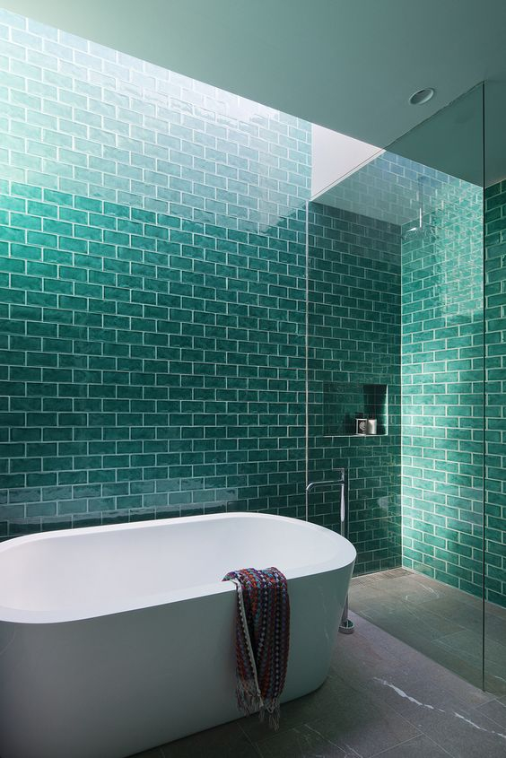 Turquoise tile in modern bathroom
