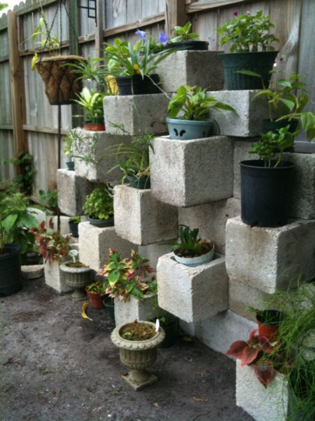 Cinder block focal point vertical planter