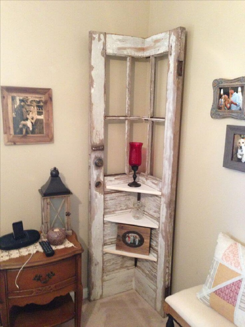 Corner shelf from a reclaimed door