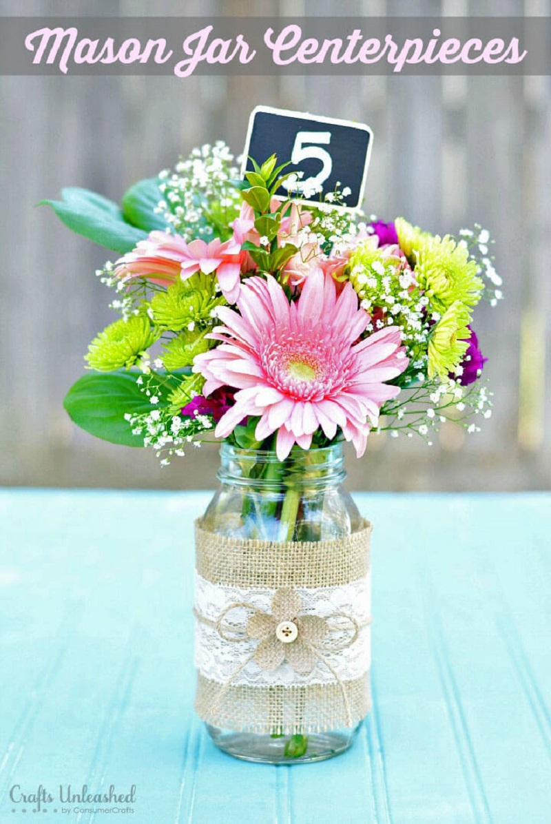 Lovely mason jars with rustic burlap accents