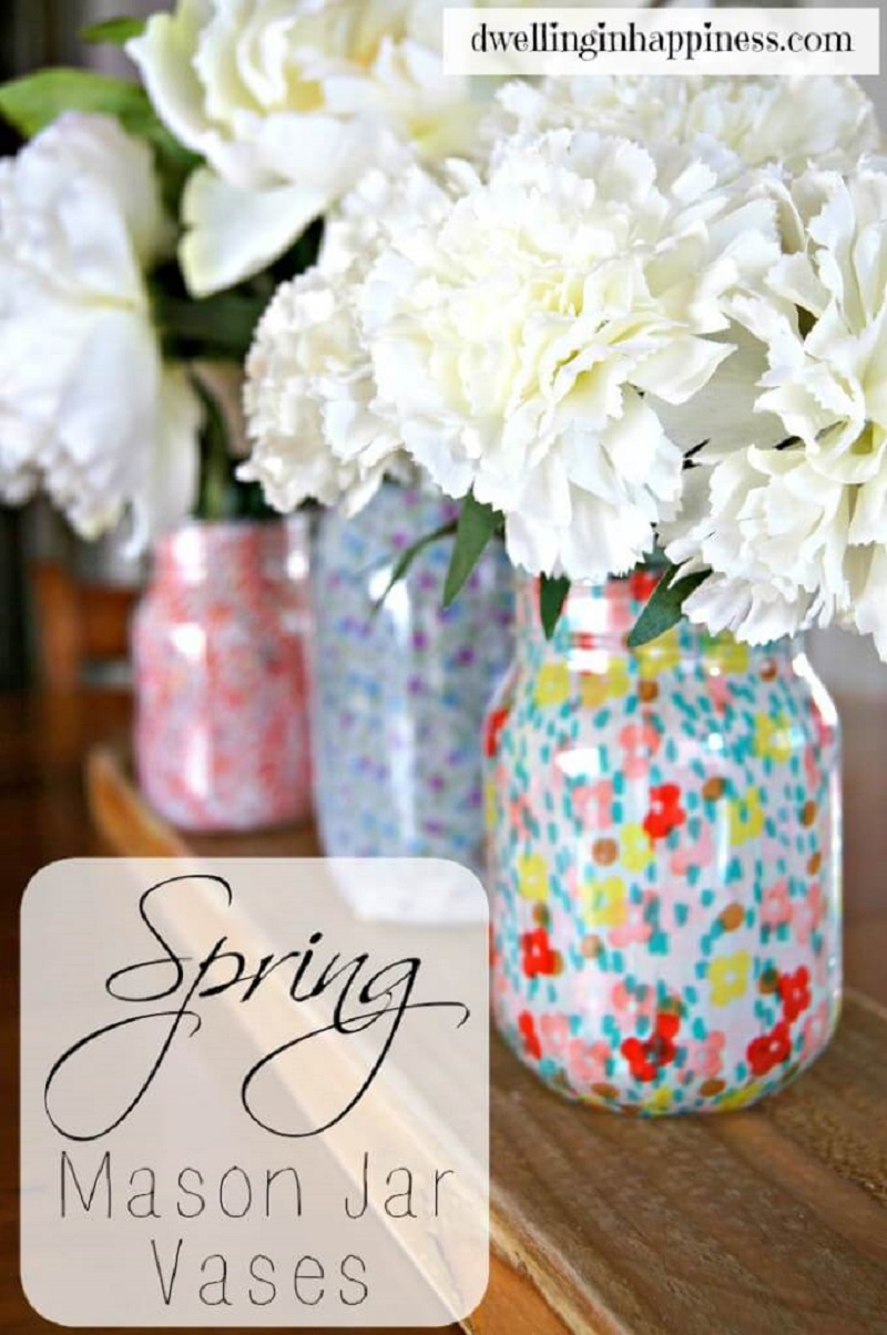 Pretty flower filled mason jars