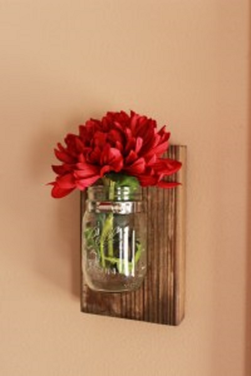 Simple mason jar wall vases