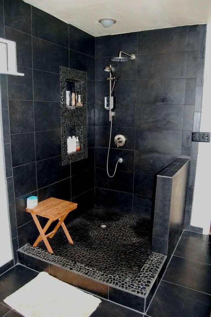 Elegant bathroom design with black walls 01