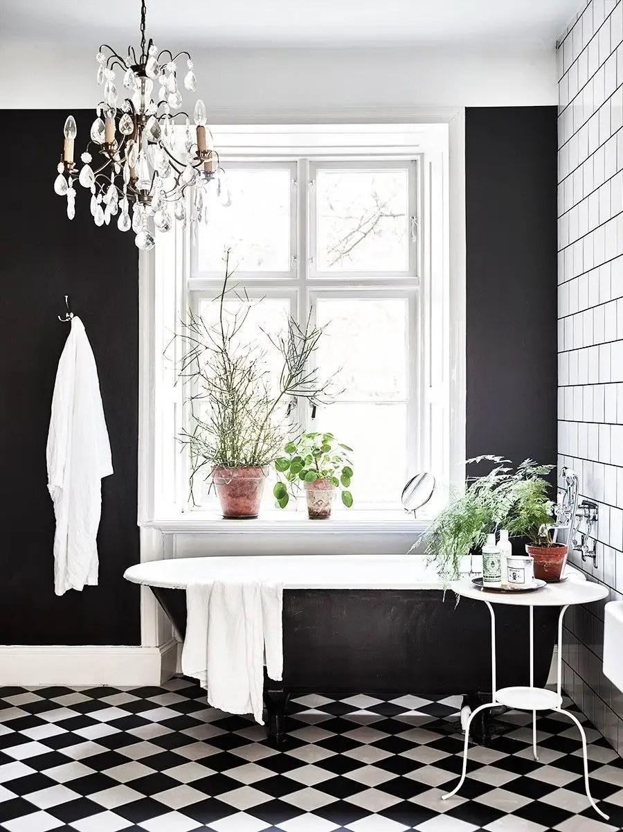 Elegant bathroom design with black walls 07