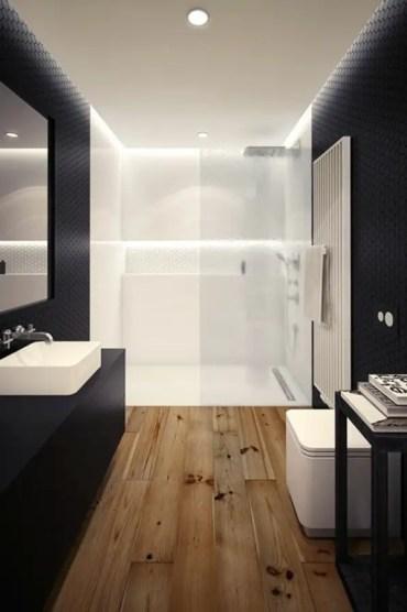Elegant bathroom design with black walls 15