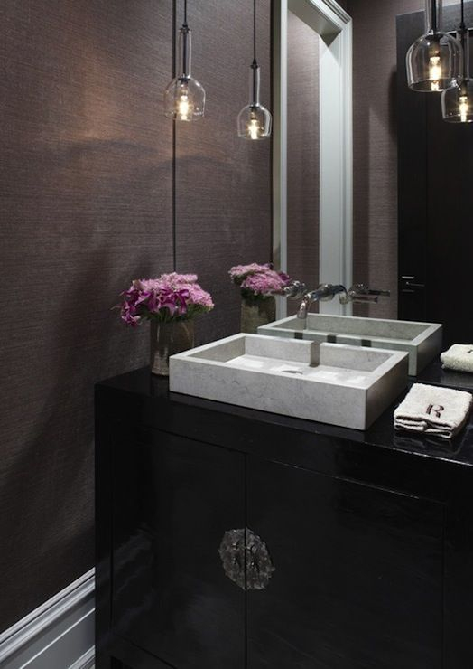 Elegant bathroom design with black walls 19