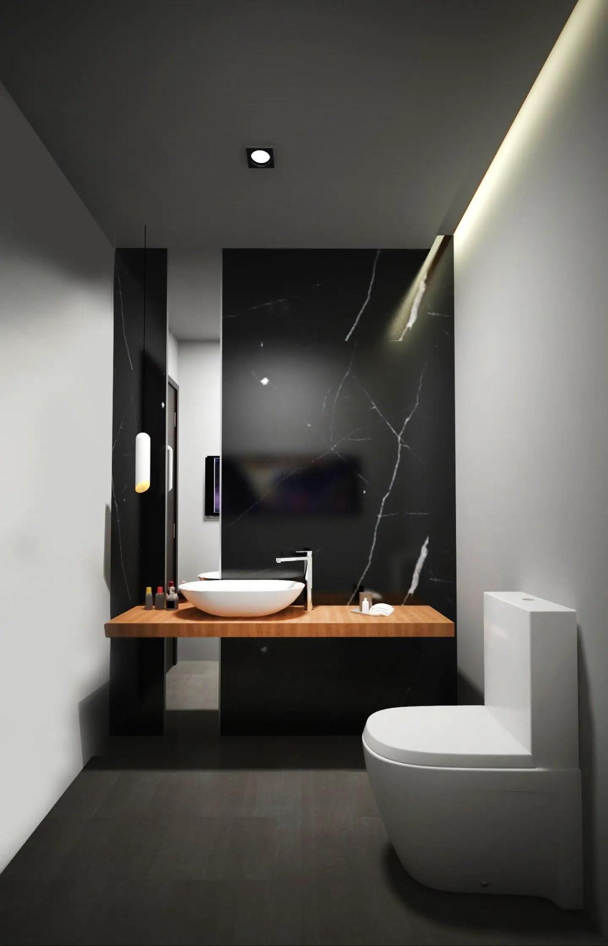 Elegant bathroom design with black walls 26