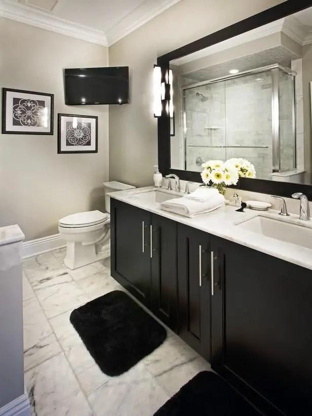 Elegant bathroom design with black walls 43
