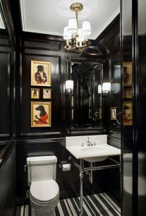 Elegant bathroom design with black walls 55