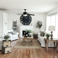 Rustic modern farmhouse living room decor ideas 05