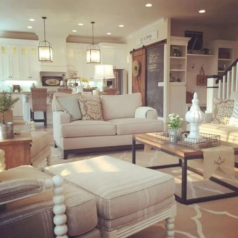 Rustic modern farmhouse living room decor ideas 08